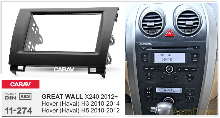 Рамка CARAV 11-274:  2 DIN / GREAT WALL Hover H3 2010-2014, Hover H5 2010-2012; X240 2012+​​